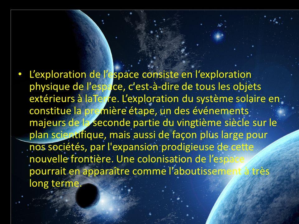 Lexploration de lespace consiste en lexploration physique de l'espace, c'est-à-dire de tous les objets extérieurs à laTerre. Lexploration du système s