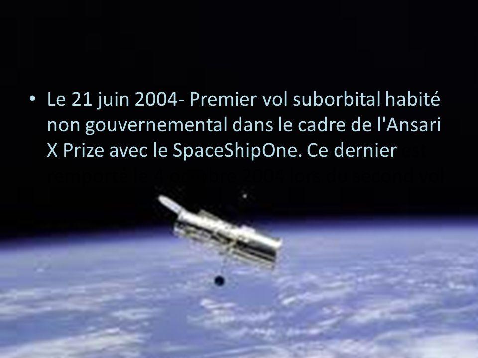 Le 21 juin 2004- Premier vol suborbital habité non gouvernemental dans le cadre de l'Ansari X Prize avec le SpaceShipOne. Ce dernier est remporté le 4