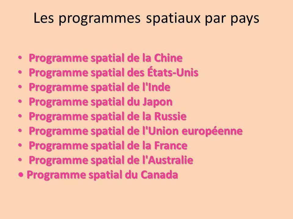 Les programmes spatiaux par pays Programme spatial de la Chine Programme spatial de la Chine Programme spatial des États-Unis Programme spatial des Ét