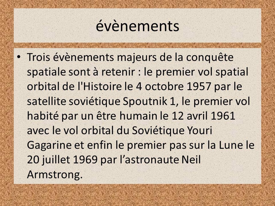 évènements Trois évènements majeurs de la conquête spatiale sont à retenir : le premier vol spatial orbital de l'Histoire le 4 octobre 1957 par le sat