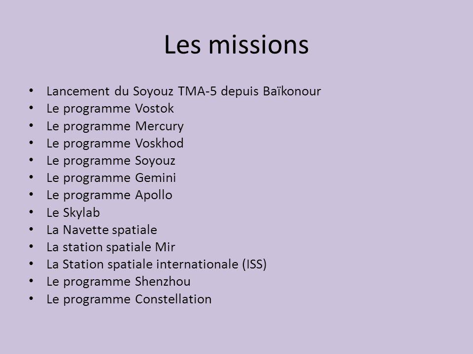 Les missions Lancement du Soyouz TMA-5 depuis Baïkonour Le programme Vostok Le programme Mercury Le programme Voskhod Le programme Soyouz Le programme