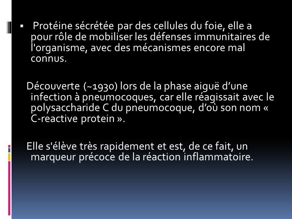 Protéine sécrétée par des cellules du foie, elle a pour rôle de mobiliser les défenses immunitaires de l organisme, avec des mécanismes encore mal connus.
