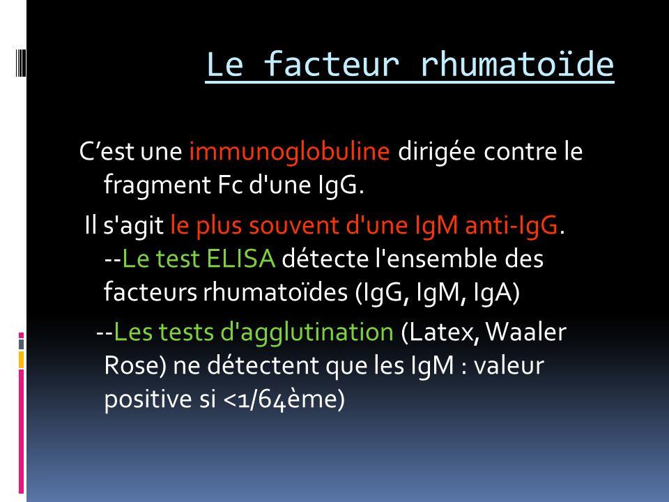 Le facteur rhumatoïde Cest une immunoglobuline dirigée contre le fragment Fc d'une IgG. Il s'agit le plus souvent d'une IgM anti-IgG. --Le test ELISA