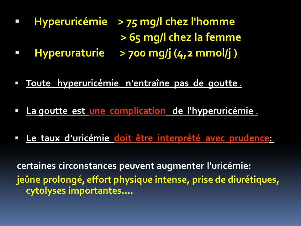 Hyperuricémie > 75 mg/l chez l'homme > 65 mg/l chez la femme Hyperuraturie > 700 mg/j (4,2 mmol/j ) Toute hyperuricémie n'entraîne pas de goutte. La g