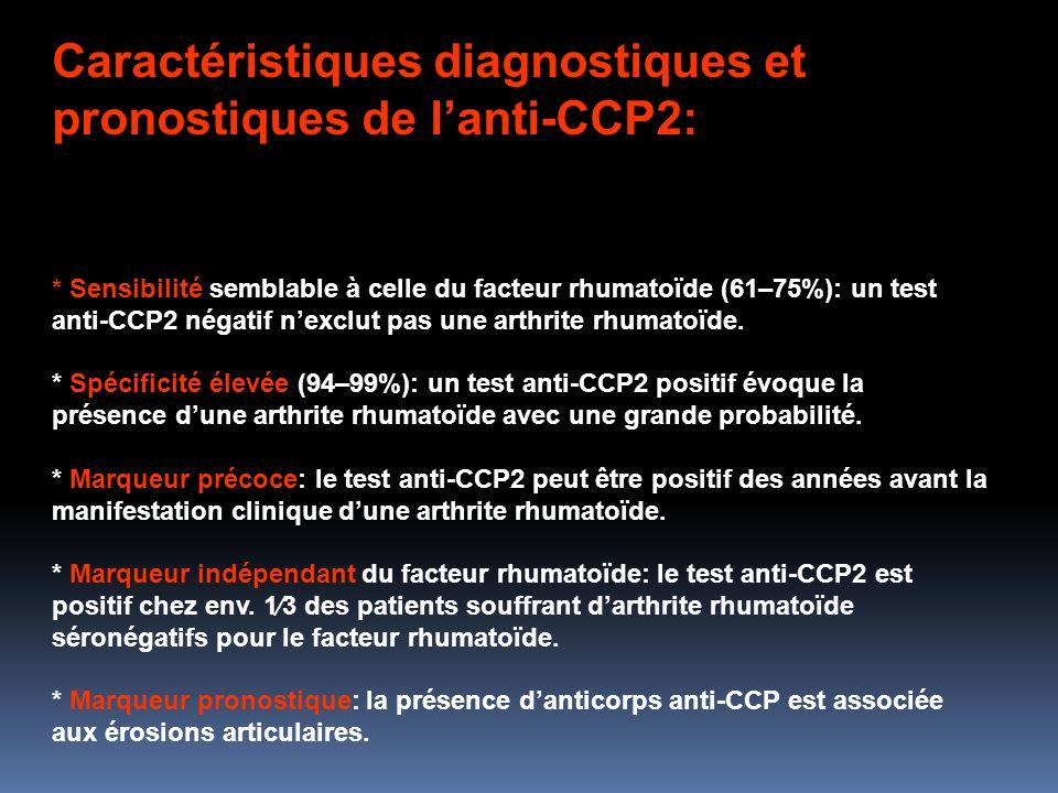 Caractéristiques diagnostiques et pronostiques de lanti-CCP2: * Sensibilité semblable à celle du facteur rhumatoïde (61–75%): un test anti-CCP2 négatif nexclut pas une arthrite rhumatoïde.