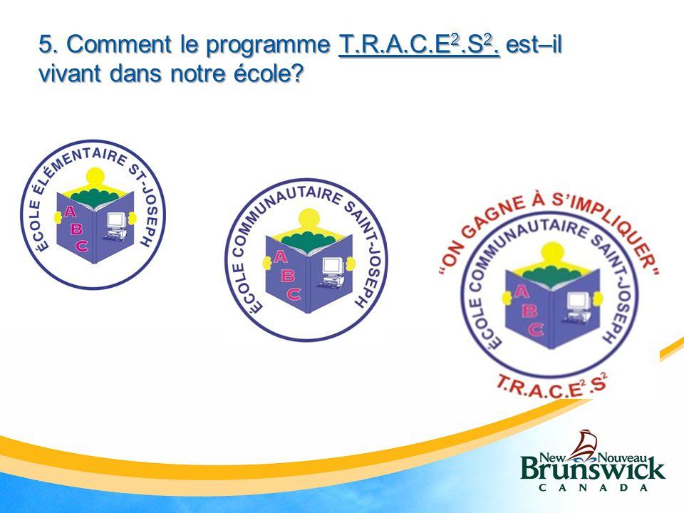 5. Comment le programme T.R.A.C.E 2.S 2. est–il vivant dans notre école