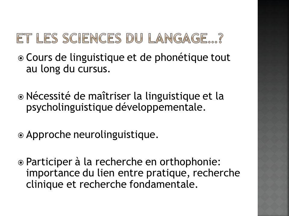Cours de linguistique et de phonétique tout au long du cursus. Nécessité de maîtriser la linguistique et la psycholinguistique développementale. Appro