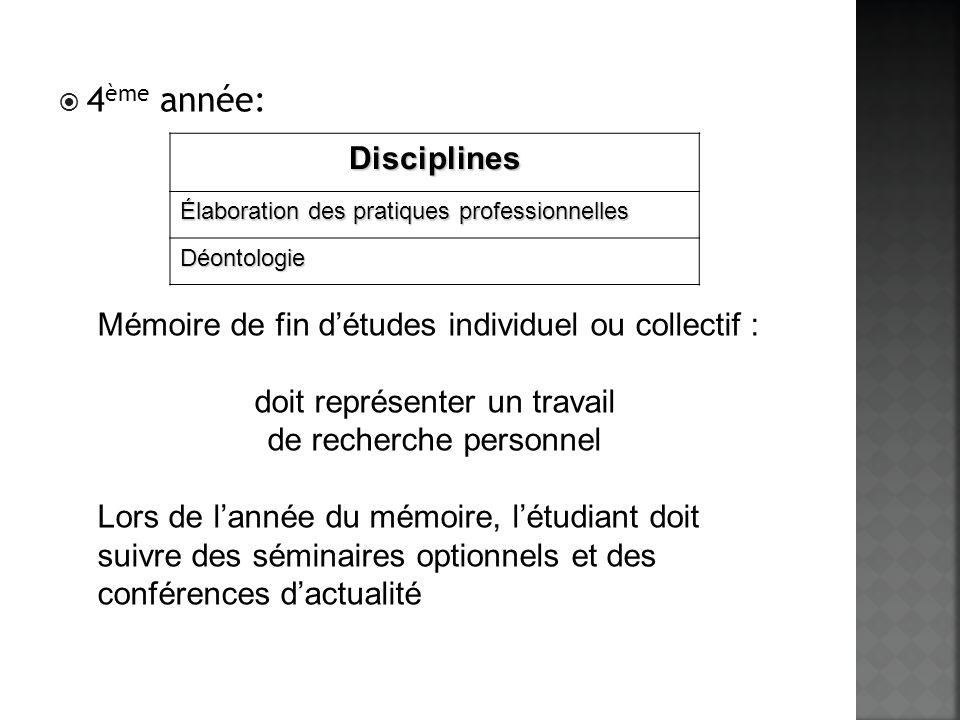 4 ème année: Mémoire de fin détudes individuel ou collectif : doit représenter un travail de recherche personnel Lors de lannée du mémoire, létudiant