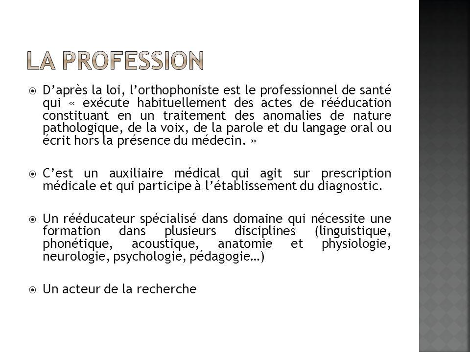 Daprès la loi, lorthophoniste est le professionnel de santé qui « exécute habituellement des actes de rééducation constituant en un traitement des ano