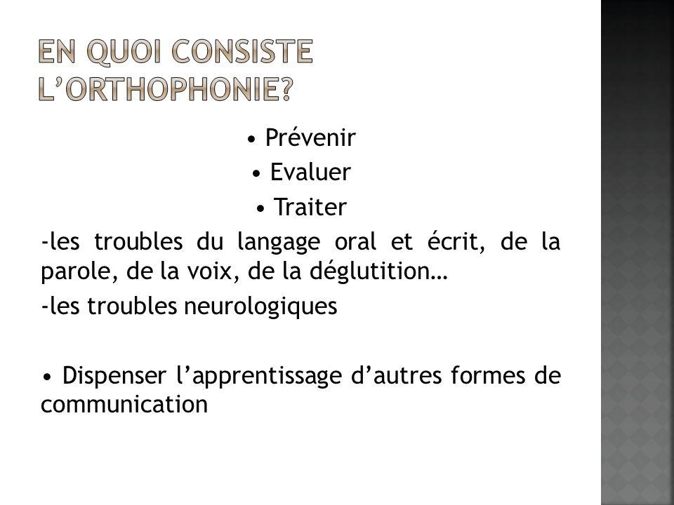 Prévenir Evaluer Traiter -les troubles du langage oral et écrit, de la parole, de la voix, de la déglutition… -les troubles neurologiques Dispenser la