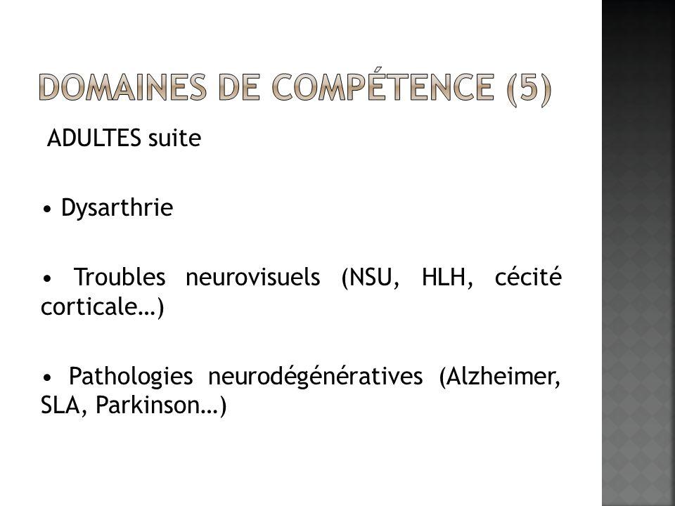 ADULTES suite Dysarthrie Troubles neurovisuels (NSU, HLH, cécité corticale…) Pathologies neurodégénératives (Alzheimer, SLA, Parkinson…)