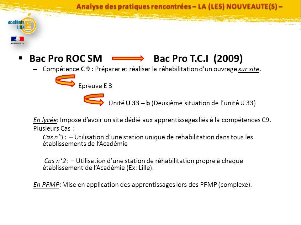 Bac Pro ROC SM Bac Pro T.C.I (2009) – Compétence C 9 : Préparer et réaliser la réhabilitation dun ouvrage sur site. Epreuve E 3 Unité U 33 – b (Deuxiè