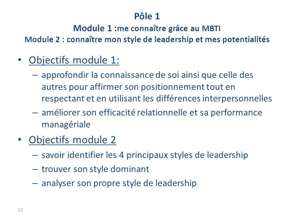 Pôle 1 Module 1 : me connaître grâce au MBTI Module 2 : connaître mon style de leadership et mes potentialités Objectifs module 1: – approfondir la connaissance de soi ainsi que celle des autres pour affirmer son positionnement tout en respectant et en utilisant les différences interpersonnelles – améliorer son efficacité relationnelle et sa performance managériale Objectifs module 2 – savoir identifier les 4 principaux styles de leadership – trouver son style dominant – analyser son propre style de leadership 13