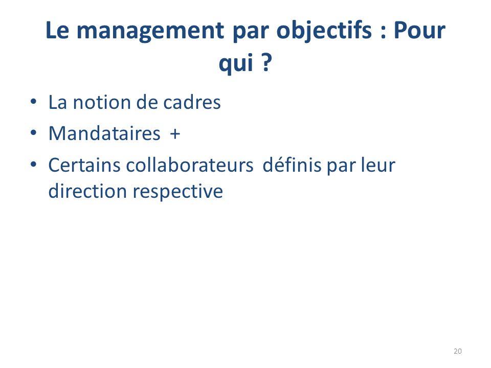 Le management par objectifs : Pour qui .