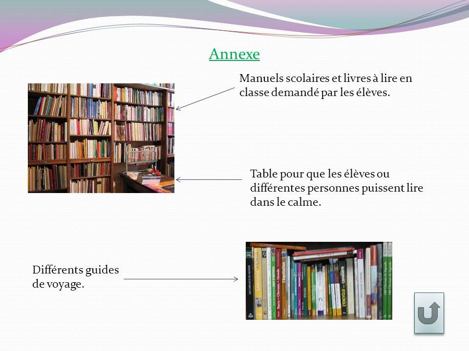 Annexe Manuels scolaires et livres à lire en classe demandé par les élèves. Table pour que les élèves ou différentes personnes puissent lire dans le c