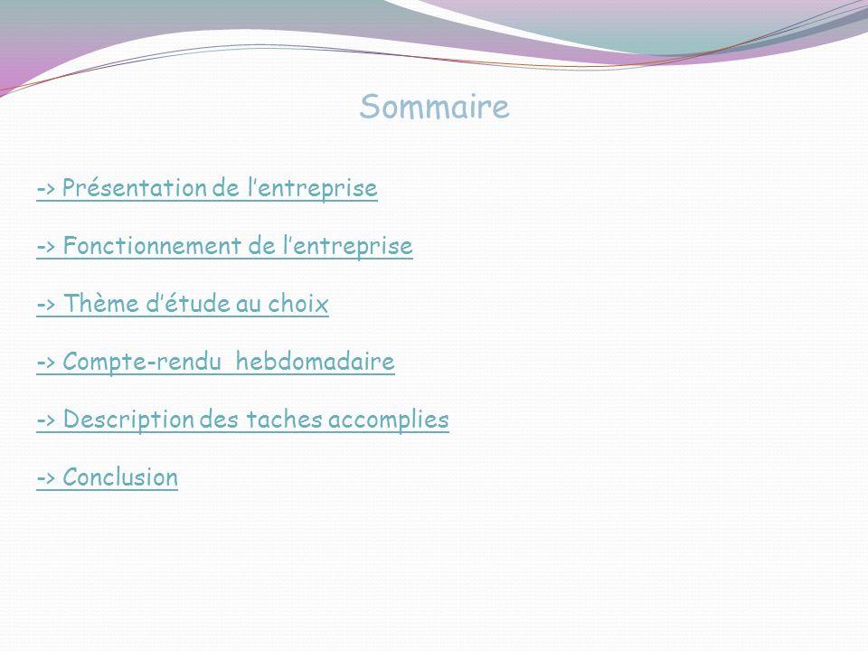 Sommaire -> Présentation de lentreprise -> Fonctionnement de lentreprise -> Thème détude au choix -> Compte-rendu hebdomadaire -> Description des tach