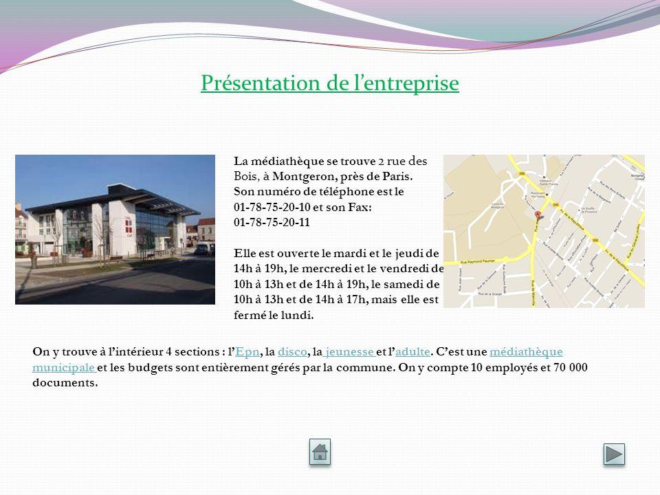 Présentation de lentreprise La médiathèque se trouve 2 rue des Bois, à Montgeron, près de Paris. Son numéro de téléphone est le 01-78-75-20-10 et son