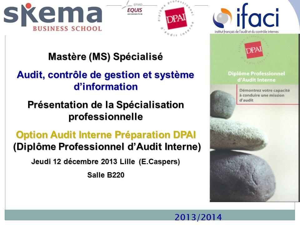 2013/2014 Mastère (MS) Spécialisé Audit, contrôle de gestion et système dinformation Présentation de la Spécialisation professionnelle Option Audit In