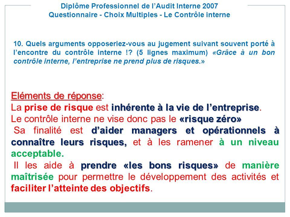 Diplôme Professionnel de lAudit Interne 2007 Questionnaire - Choix Multiples - Le Contrôle interne Eléments de réponse Eléments de réponse: inhérente