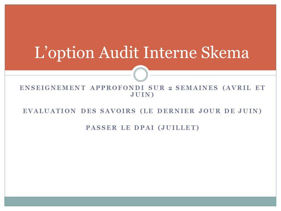 Loption Audit Interne Skema ENSEIGNEMENT APPROFONDI SUR 2 SEMAINES (AVRIL ET JUIN) EVALUATION DES SAVOIRS (LE DERNIER JOUR DE JUIN) PASSER LE DPAI (JU