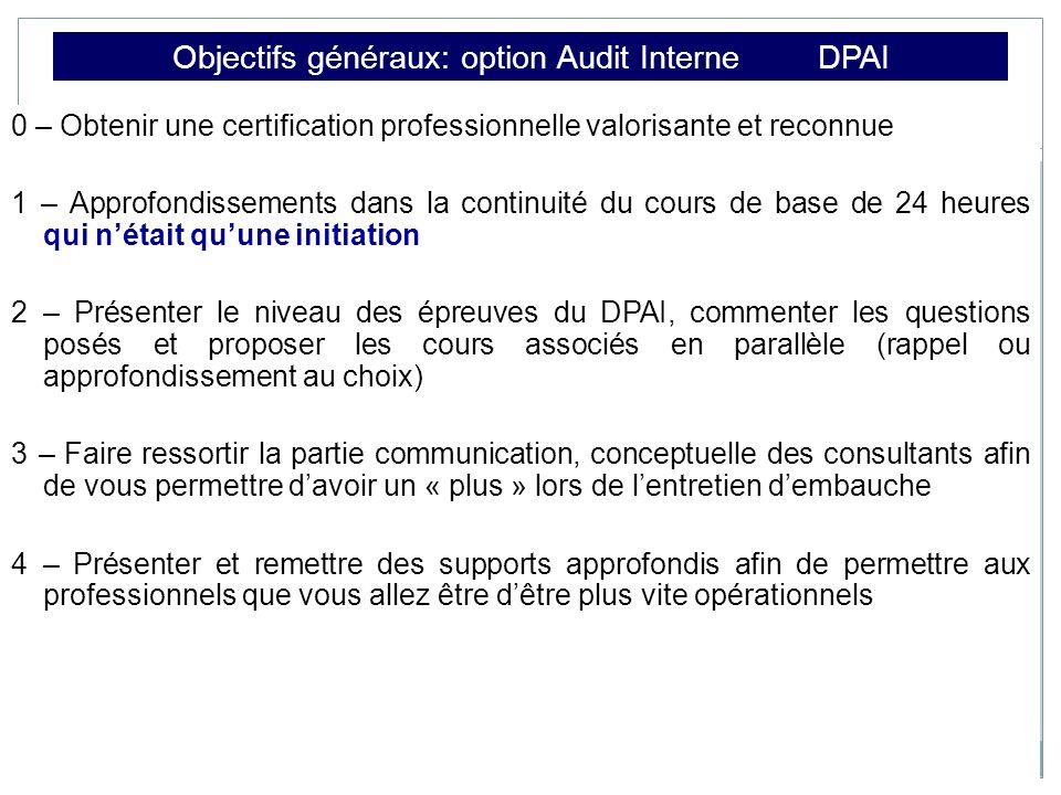 Objectifs généraux: option Audit Interne DPAI 0 – Obtenir une certification professionnelle valorisante et reconnue 1 – Approfondissements dans la con