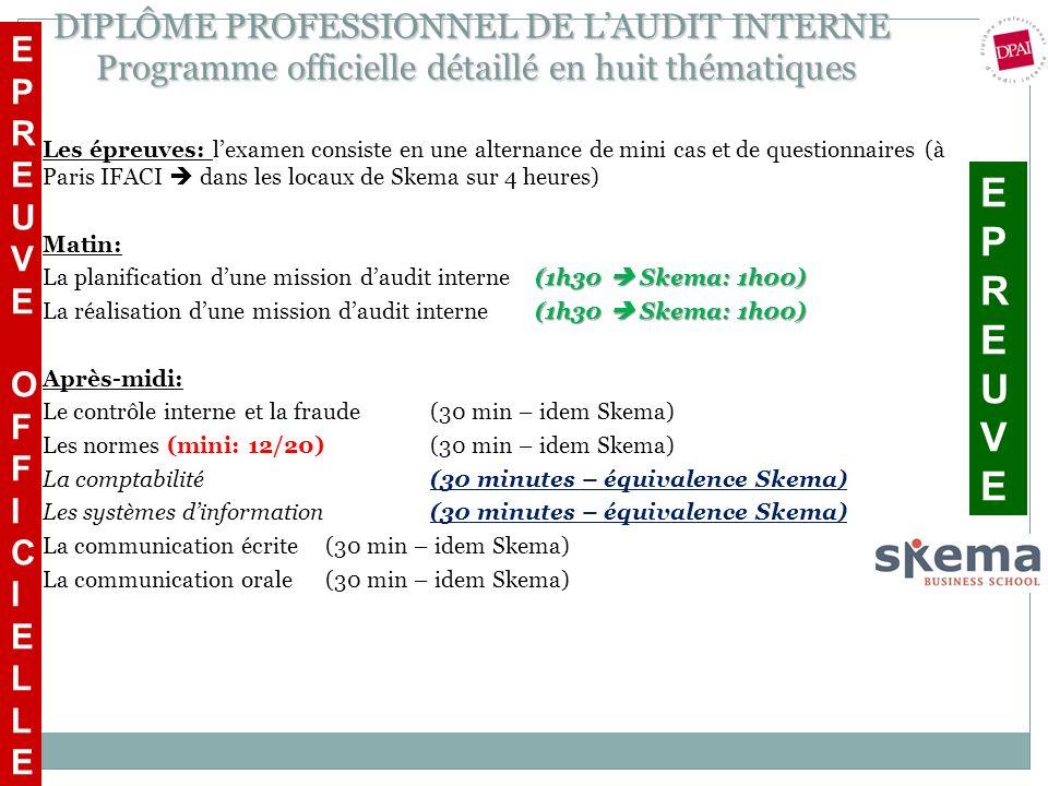 DIPLÔME PROFESSIONNEL DE LAUDIT INTERNE Programme officielle détaillé en huit thématiques Les épreuves: lexamen consiste en une alternance de mini cas