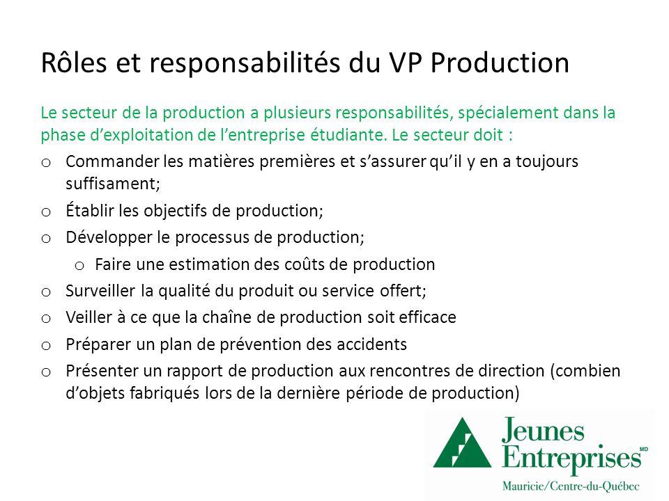 Rôles et responsabilités du VP Production Le secteur de la production a plusieurs responsabilités, spécialement dans la phase dexploitation de lentreprise étudiante.