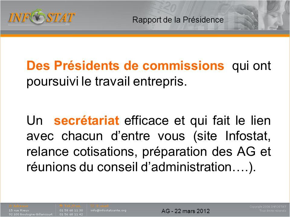 Rapport de la Présidence Des Présidents de commissions qui ont poursuivi le travail entrepris. Un secrétariat efficace et qui fait le lien avec chacun