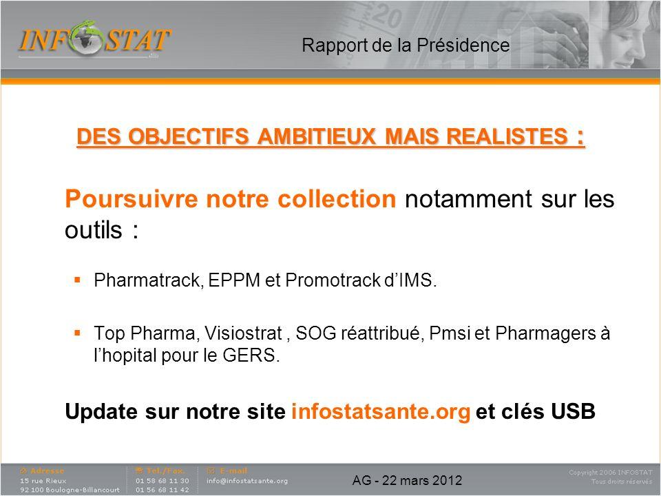 Rapport de la Présidence DES OBJECTIFS AMBITIEUX MAIS REALISTES : Poursuivre notre collection notamment sur les outils : Pharmatrack, EPPM et Promotra