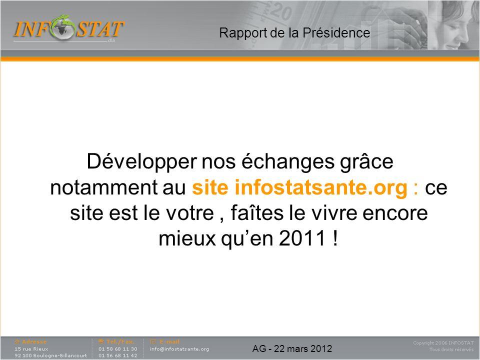 Rapport de la Présidence Développer nos échanges grâce notamment au site infostatsante.org : ce site est le votre, faîtes le vivre encore mieux quen 2