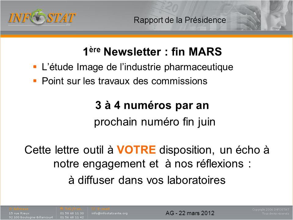 1 ère Newsletter : fin MARS Létude Image de lindustrie pharmaceutique Point sur les travaux des commissions 3 à 4 numéros par an prochain numéro fin j