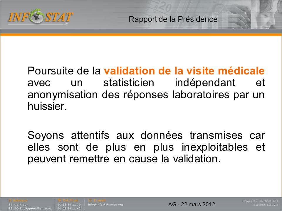Rapport de la Présidence Poursuite de la validation de la visite médicale avec un statisticien indépendant et anonymisation des réponses laboratoires