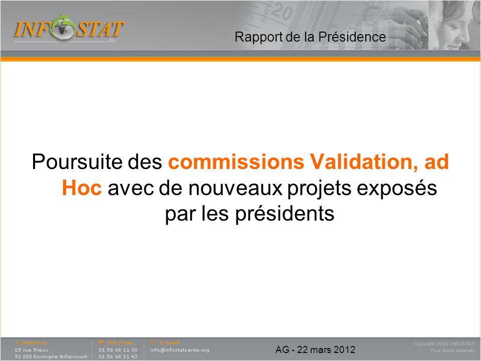 Rapport de la Présidence Poursuite des commissions Validation, ad Hoc avec de nouveaux projets exposés par les présidents AG - 22 mars 2012