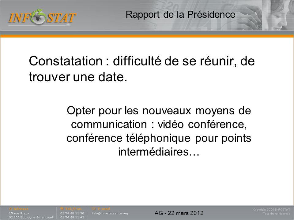 Rapport de la Présidence Constatation : difficulté de se réunir, de trouver une date. Opter pour les nouveaux moyens de communication : vidéo conféren