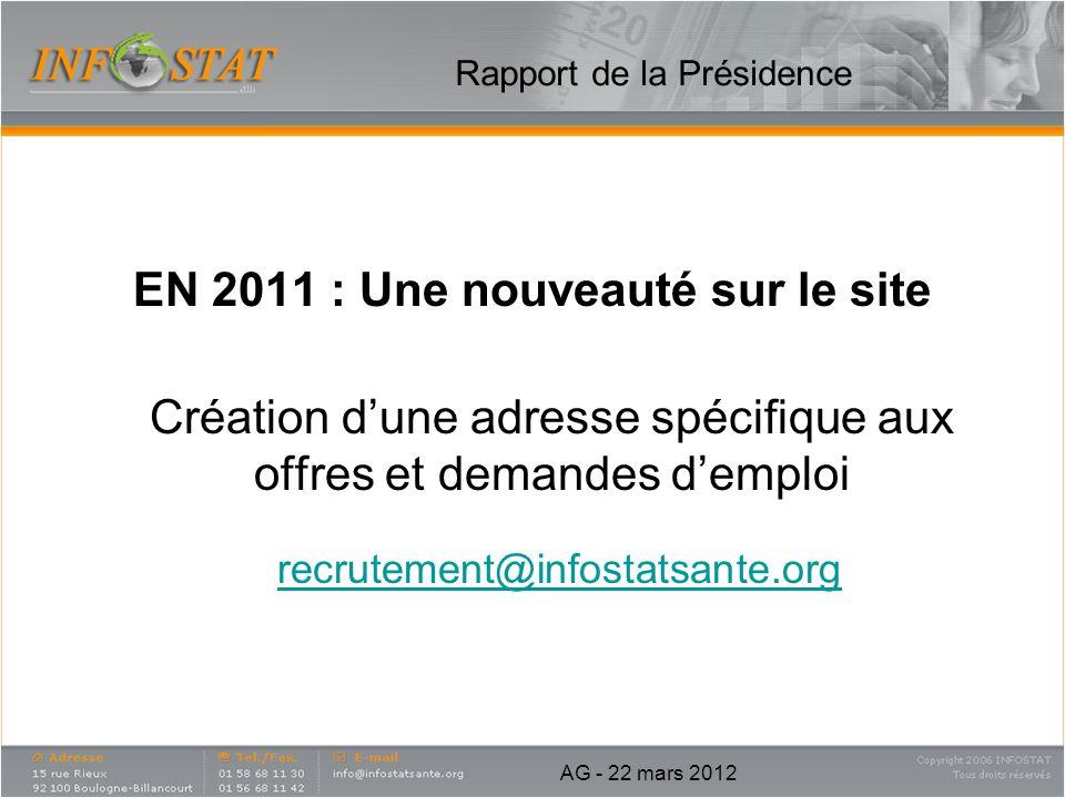EN 2011 : Une nouveauté sur le site Création dune adresse spécifique aux offres et demandes demploi recrutement@infostatsante.org Rapport de la Présid