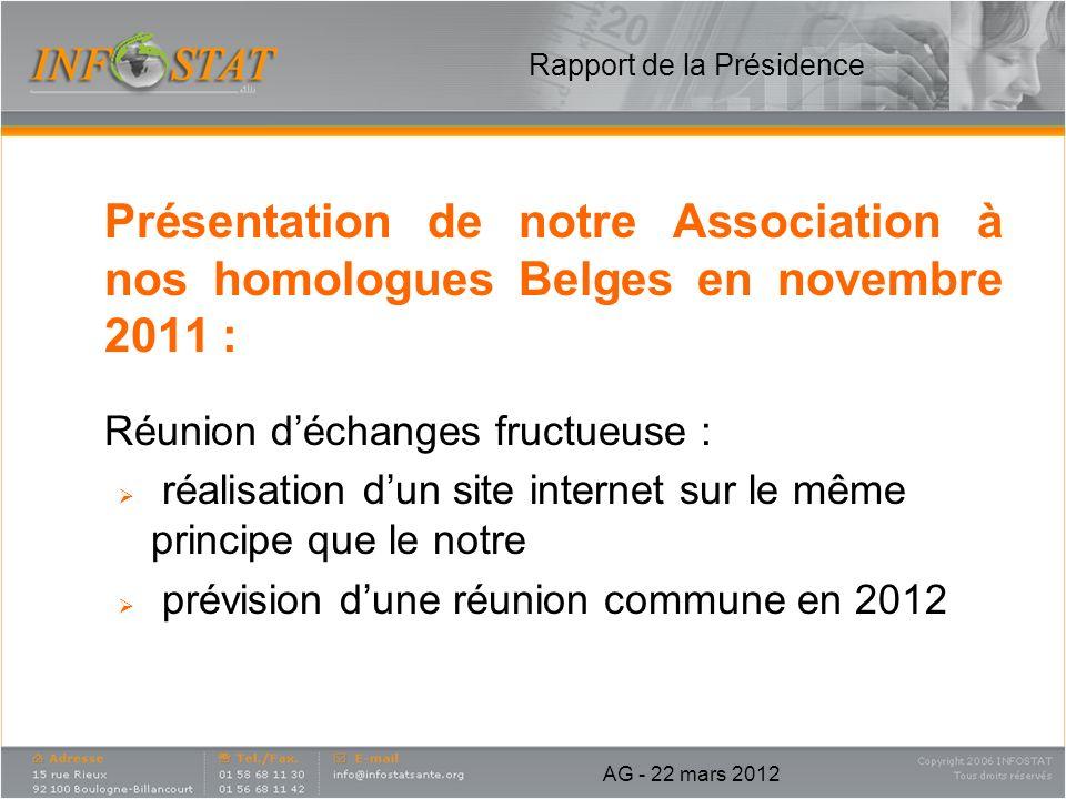 Présentation de notre Association à nos homologues Belges en novembre 2011 : Réunion déchanges fructueuse : réalisation dun site internet sur le même