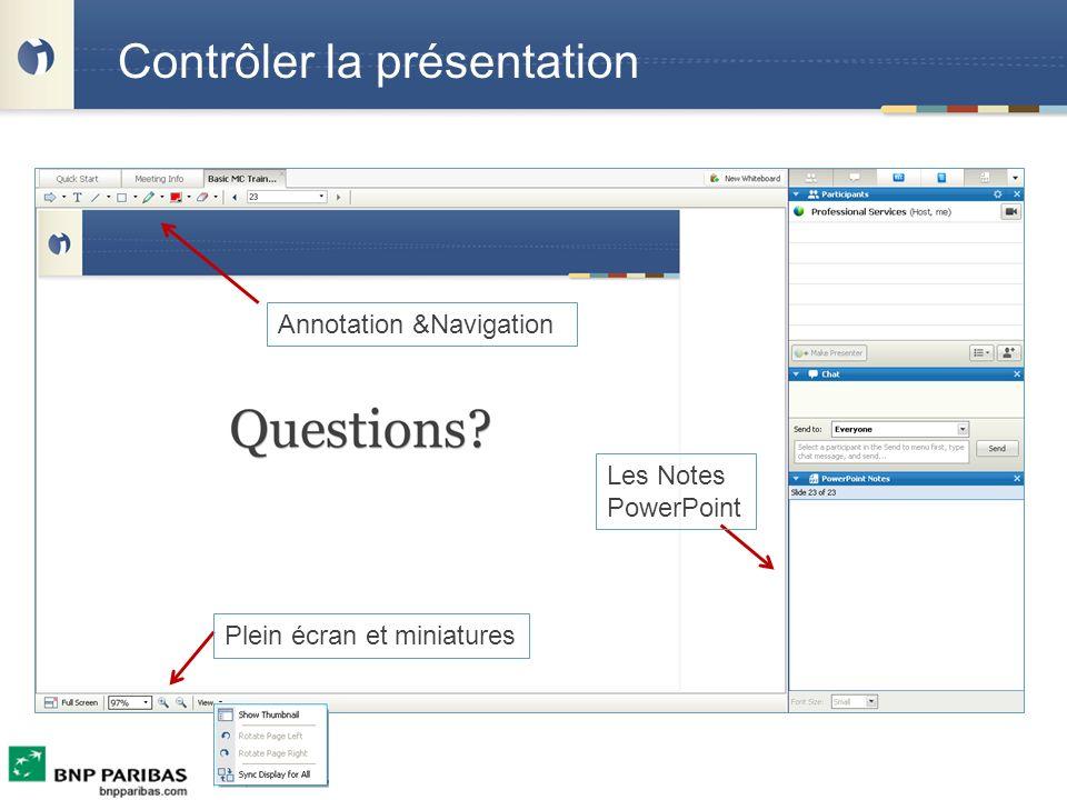Contrôler la présentation Annotation &Navigation Les Notes PowerPoint Plein écran et miniatures
