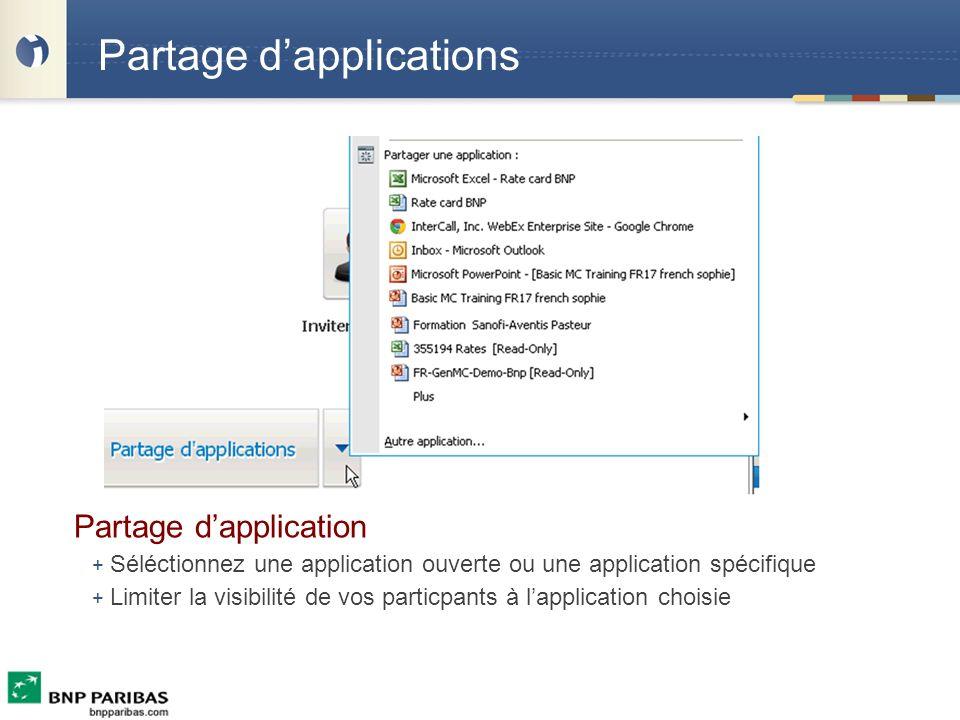 Partage dapplications Partage dapplication + Séléctionnez une application ouverte ou une application spécifique + Limiter la visibilité de vos particp