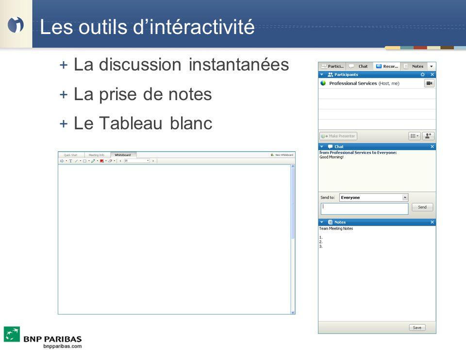 Les outils dintéractivité + La discussion instantanées + La prise de notes + Le Tableau blanc