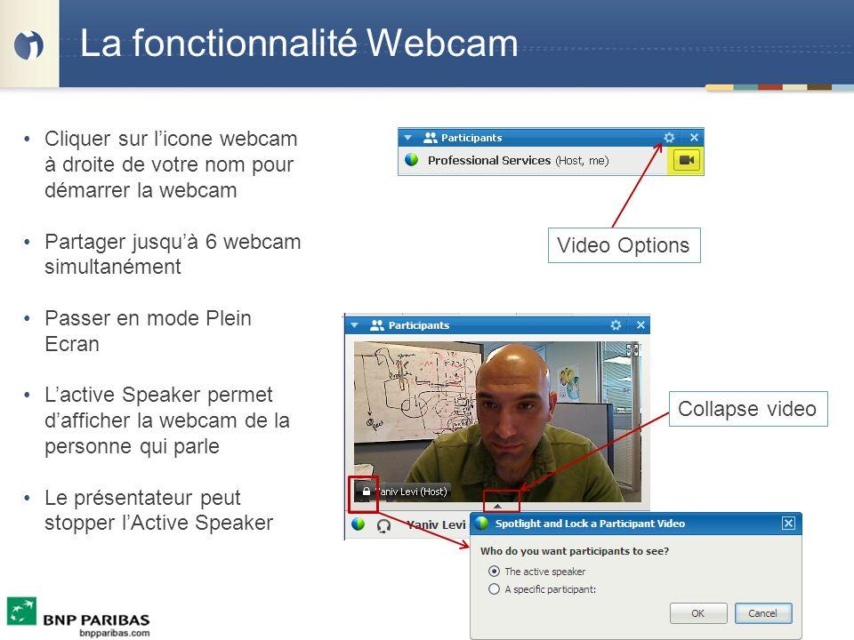 La fonctionnalité Webcam Cliquer sur licone webcam à droite de votre nom pour démarrer la webcam Partager jusquà 6 webcam simultanément Passer en mode