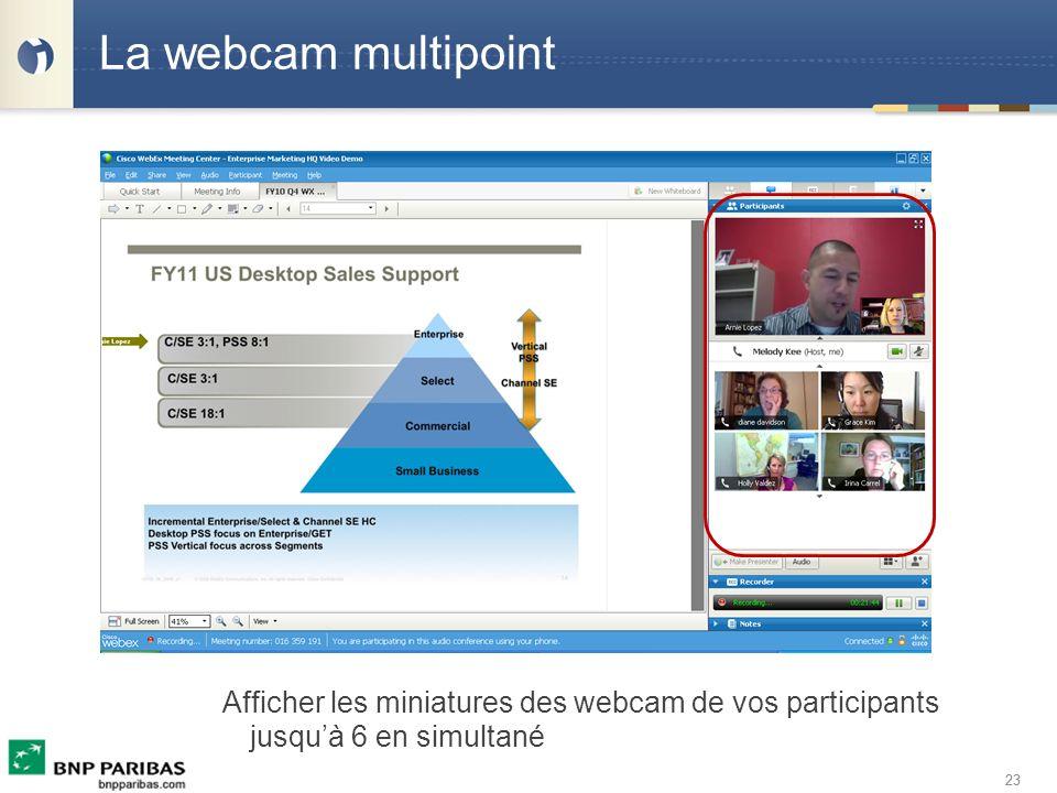 23 La webcam multipoint Afficher les miniatures des webcam de vos participants jusquà 6 en simultané