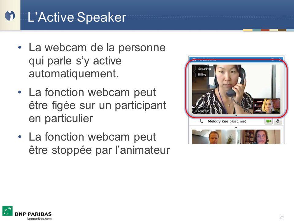 24 LActive Speaker La webcam de la personne qui parle sy active automatiquement. La fonction webcam peut être figée sur un participant en particulier
