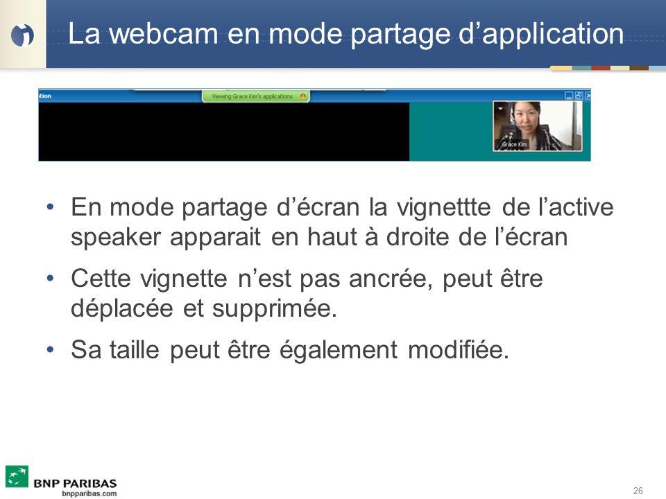 26 La webcam en mode partage dapplication En mode partage décran la vignettte de lactive speaker apparait en haut à droite de lécran Cette vignette ne