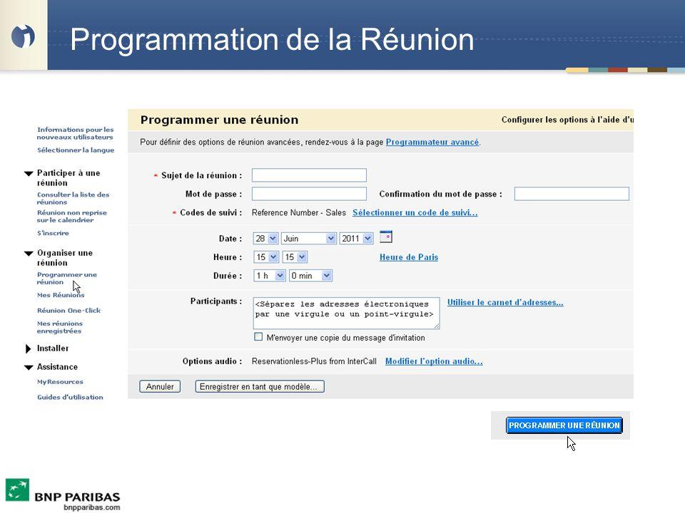 Programmation de la Réunion