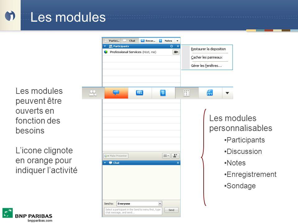 Les modules Les modules personnalisables Participants Discussion Notes Enregistrement Sondage Les modules peuvent être ouverts en fonction des besoins