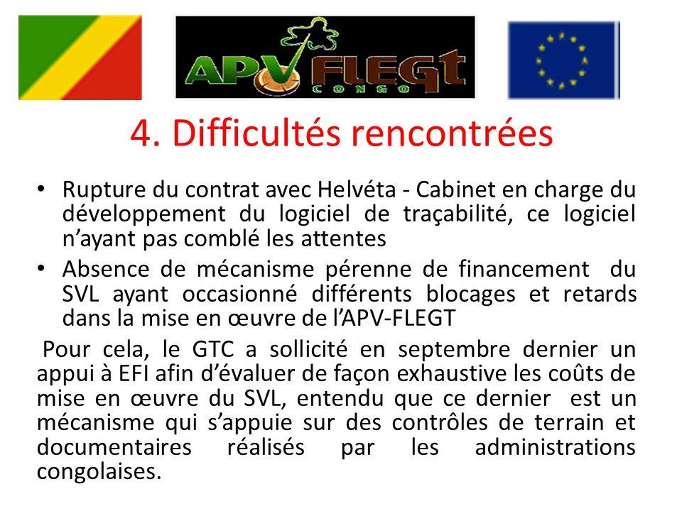 4. Difficultés rencontrées Rupture du contrat avec Helvéta - Cabinet en charge du développement du logiciel de traçabilité, ce logiciel nayant pas com