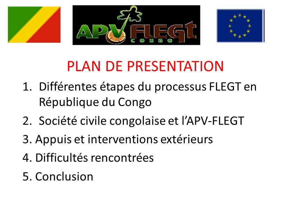 PLAN DE PRESENTATION 1.Différentes étapes du processus FLEGT en République du Congo 2.Société civile congolaise et lAPV-FLEGT 3.