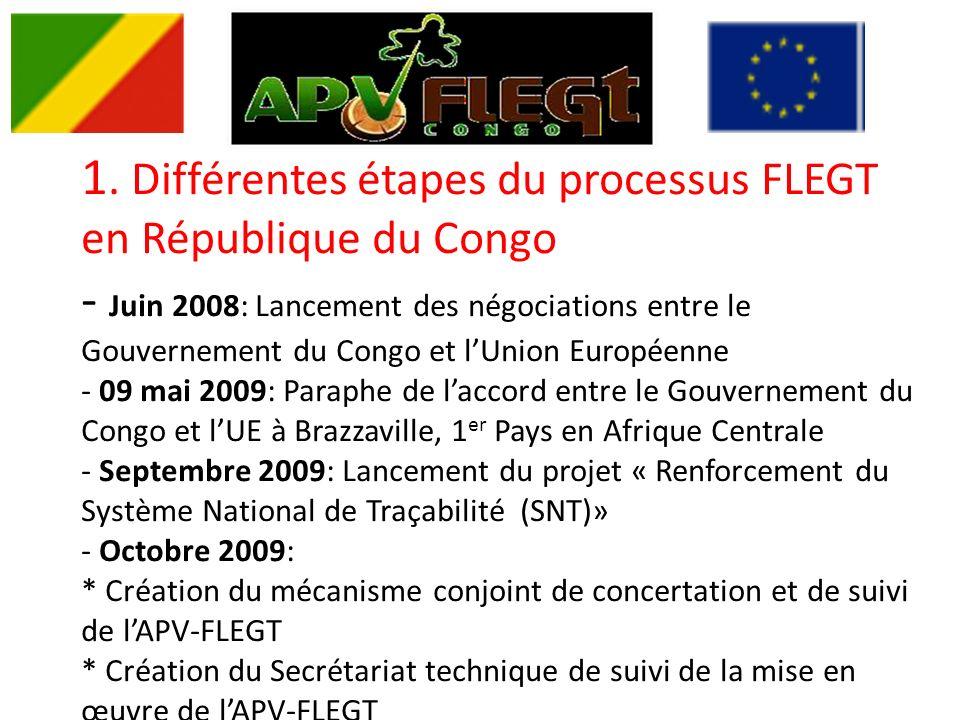 1. Différentes étapes du processus FLEGT en République du Congo - Juin 2008: Lancement des négociations entre le Gouvernement du Congo et lUnion Europ