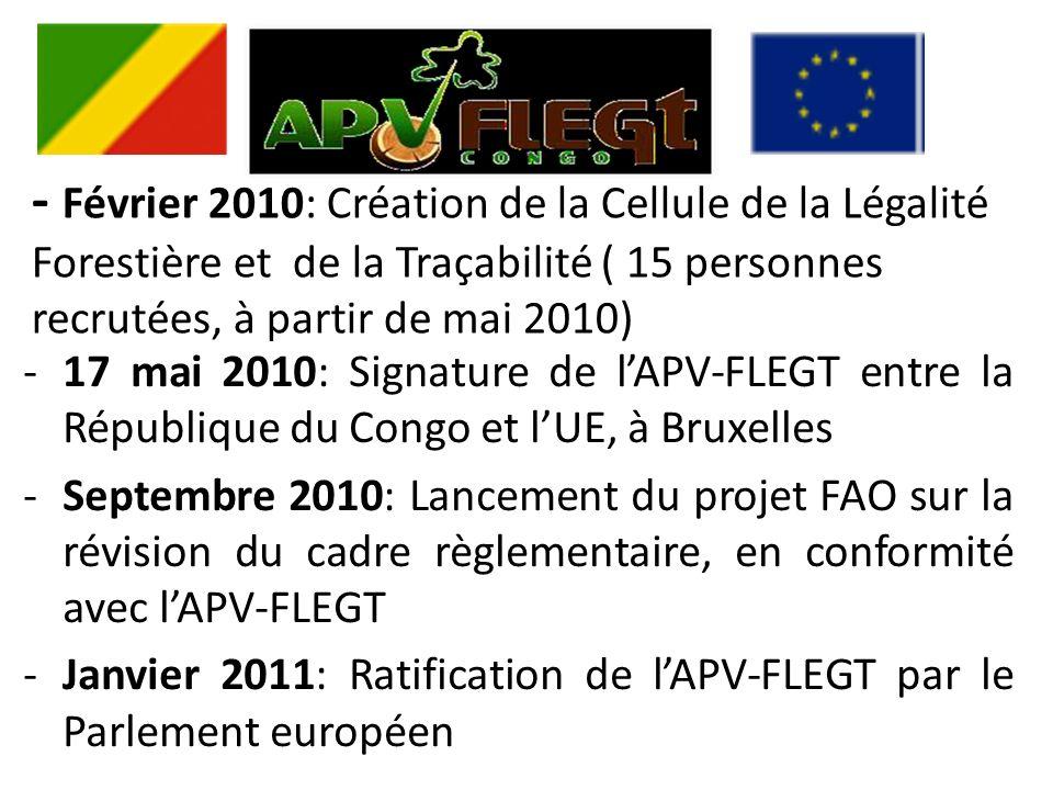 - Février 2010: Création de la Cellule de la Légalité Forestière et de la Traçabilité ( 15 personnes recrutées, à partir de mai 2010) -17 mai 2010: Signature de lAPV-FLEGT entre la République du Congo et lUE, à Bruxelles -Septembre 2010: Lancement du projet FAO sur la révision du cadre règlementaire, en conformité avec lAPV-FLEGT -Janvier 2011: Ratification de lAPV-FLEGT par le Parlement européen