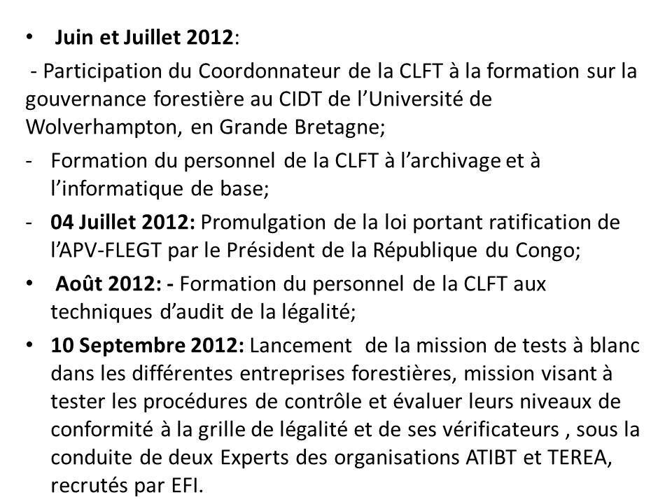 Juin et Juillet 2012: - Participation du Coordonnateur de la CLFT à la formation sur la gouvernance forestière au CIDT de lUniversité de Wolverhampton, en Grande Bretagne; -Formation du personnel de la CLFT à larchivage et à linformatique de base; -04 Juillet 2012: Promulgation de la loi portant ratification de lAPV-FLEGT par le Président de la République du Congo; Août 2012: - Formation du personnel de la CLFT aux techniques daudit de la légalité; 10 Septembre 2012: Lancement de la mission de tests à blanc dans les différentes entreprises forestières, mission visant à tester les procédures de contrôle et évaluer leurs niveaux de conformité à la grille de légalité et de ses vérificateurs, sous la conduite de deux Experts des organisations ATIBT et TEREA, recrutés par EFI.